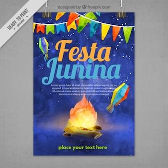 Noite Festa folheto junina no efeito aquarela