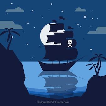 Noite fundo com navio pirata