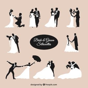 Noiva e noivo silhuetas