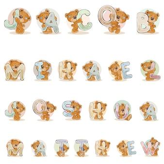 Nomes para meninos Jacob, Mihael, Joshua, Matthew fizeram letras decorativas com ursinhos de pelúcia