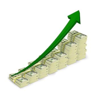 Notas de banco de dinheiro acumulam gráfico crescente