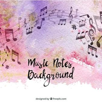 Notas de música sobre fundo de aquarela