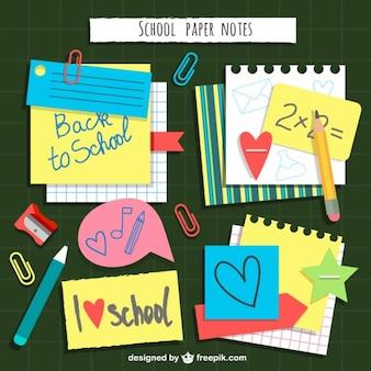 Notas de papel da escola