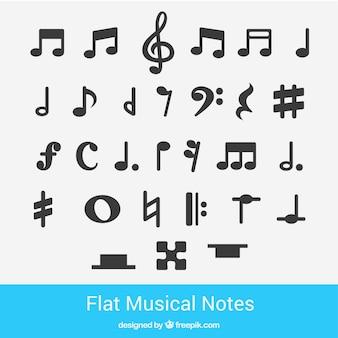 Notas musicais planas