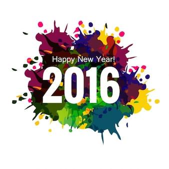 Novo ano de 2016 cartão colorido