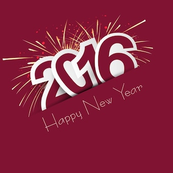 Novo ano de 2016 cartão com fogos de artifício