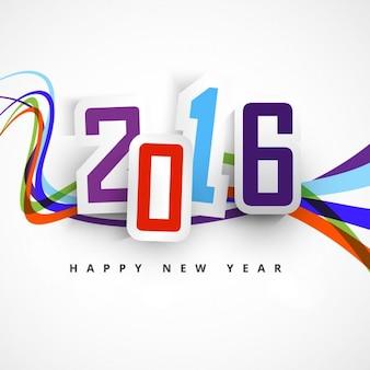 Novo ano de 2016 cartão com ondas coloridas