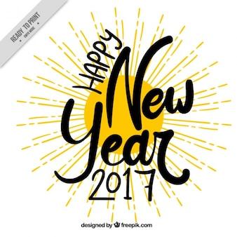 Novo ano de 2017 bonito fundo de mão desenhada sol