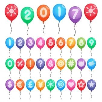 Números e símbolos de cores em balões