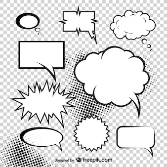 nuvem de cogumelo do comic vetor caixa de diálogo estilo