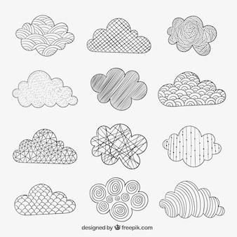 Nuvens esboçado em estilo abstrato