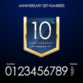 O aniversário numera o set