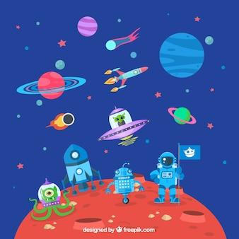 O astronauta em Marte