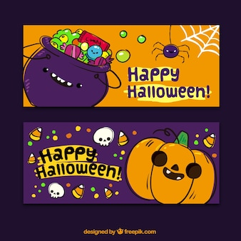 O dia das bruxas feliz com banners agradáveis