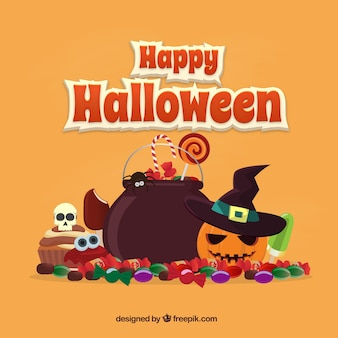 O dia das bruxas feliz com doces