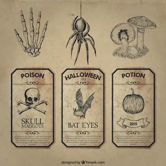 O dia das bruxas retro etiqueta a coleção