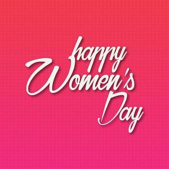 O dia das mulheres felizes tipografia criativa simples no fundo vermelho
