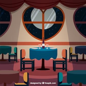 O elegante restaurante interior