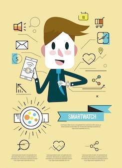 O empresário aproveita com seu relógio inteligente