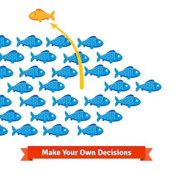 O peixe independente se liberta de seu cardume