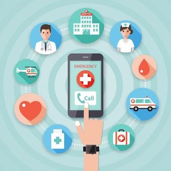 O telefone móvel com um símbolo médico