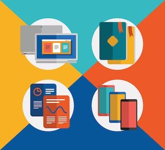 Objetos de comunicação para design. Ilustrações vetoriais