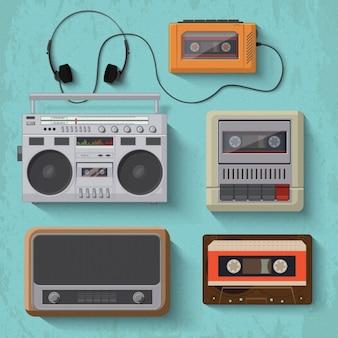 objetos de música de escuta do vintage