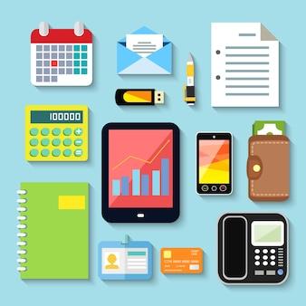 Objetos de negócios e dispositivos móveis conjunto de tablet telefone notebook cartão de plástico ilustração vetorial