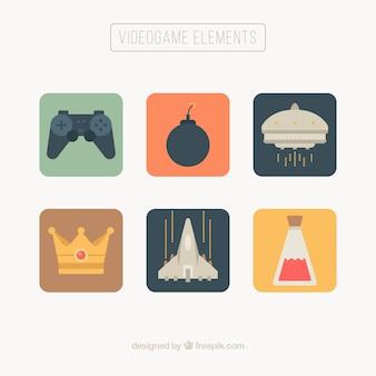 Objetos de videogame em cores suaves