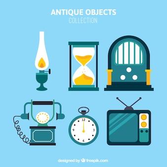 Objetos do vintage embalar em design plano