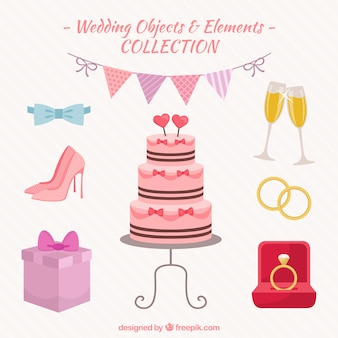 Objetos e elementos de casamento embalar