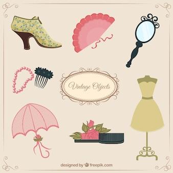 Objetos femininos do vintage