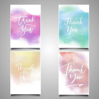 Obrigado coleção de cartões com desenhos de aquarela