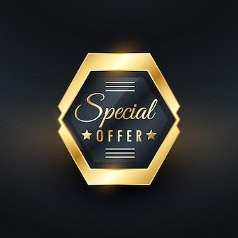 Oferta especial de design emblema etiqueta dourada