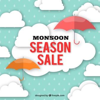 Ofertas de vendas de monções com guarda-chuva e nuvens em design plano