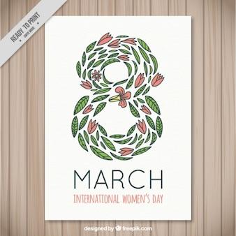 Oito composta de cartaz dia folhas da mulher
