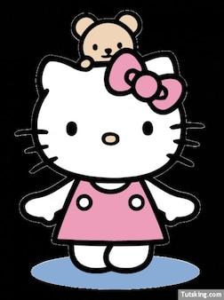 Olá Kitty com vestido rosa e ursinho de pelúcia