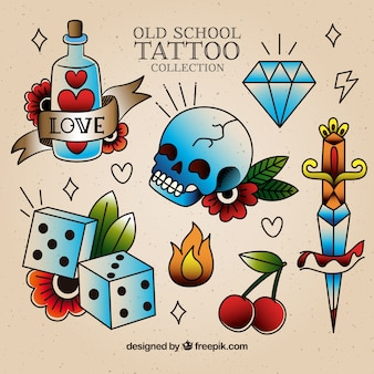 Old funny school tattoo collection