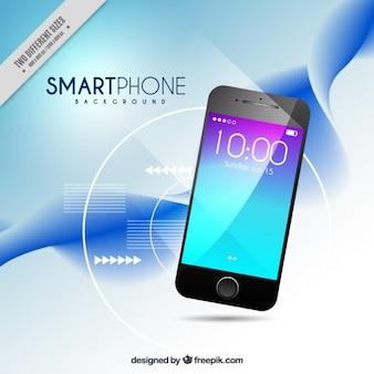 Onda fundo abstrato com smartphone