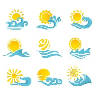 Ondas que fluem água ícones oceânicos do mar conjunto com sol ilustração vetorial isolado