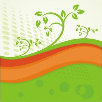 Ondas verdes e laranja com elementos florais
