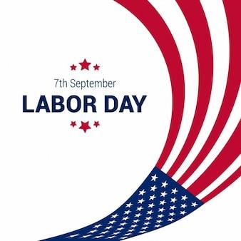 Ondulação da bandeira americana com a tipografia do Dia do Trabalho