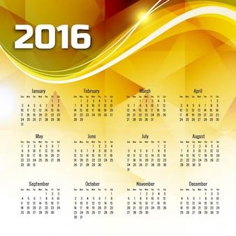 Ondulado amarelo calendário 2016