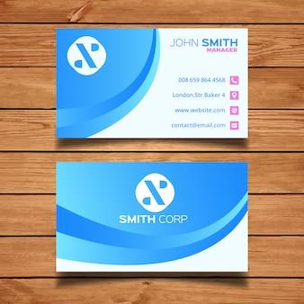 Ondulado azul tempalte cartão de visita