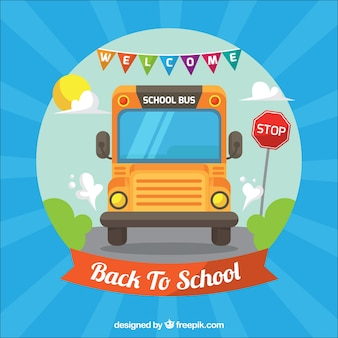Ônibus escolar na estrada com design plano