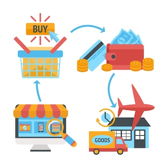Online internet website shopping icons conjunto de produtos pesquisa ordem pagamento carteira eletrônica e entrega em domicílio ilustração vetorial