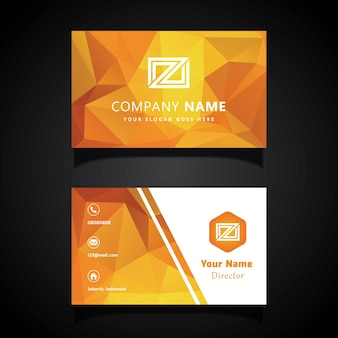 Orange Lowpoly Business Card