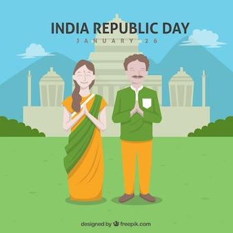 Origem indiana dia da república com casal feliz no design plano