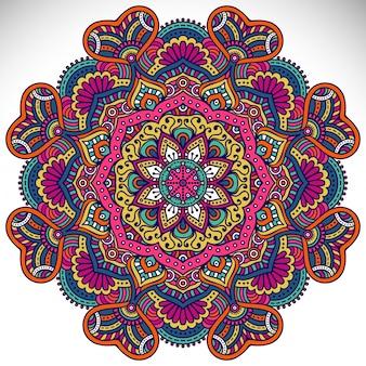 Ornamento bonito cartão com mandala Elemento de círculo geométrico feito em vetor