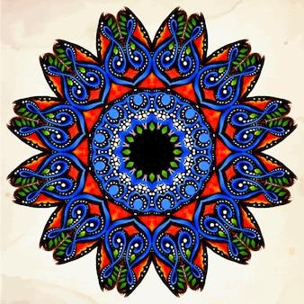 Ornamento de vetores redondos em estilo étnico Desenho de mão